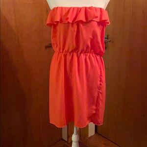 Strapless salmon dress